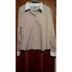 Ladies button up long sleeve top Old Navy womans stretch top Smoke free home White collar and end of sleeves white accent  Black white and tan stripe Old Navy Tops Button Down Shirts