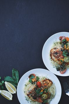 Tilapia puttanesca made with cherry heirloom tomatoes, over a delicate bed of angel hair pasta.