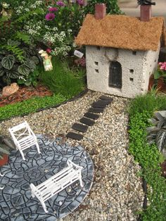 A standard sized stepping stone becomes an embellished patio for your fairy garden or dollhouse miniature