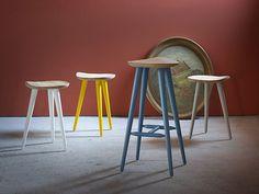 Tabouret bas en hêtre LECHUCK by Miniforms design Giorgio Biscaro