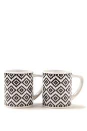 set 2 printed mugs, AZTEC BLACK