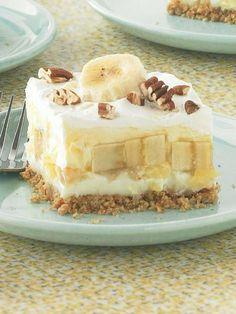 "kraftrecipes:  Banana Split ""Cake"" With layers ofPHILADELPHIA CreamCheese, crushed pineapple, banana andcreamy pudding, there'sa taste of tropicalheaven in every bite."