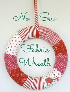 DIY-No-Sew-Fabric-Christmas-Wreath-Claireabellemakes-The Homemakery - See more stunning DIY Chrsitmas Wreaths at DIYChristmasDecorations.net!