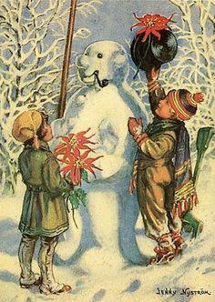 peintre illust jenny nystrom - Page 8 Swedish Christmas, Christmas Past, Christmas Wrapping, Christmas Deco, Christmas Snowman, Christmas Crafts, Winter Magic, Winter Art, Vintage Christmas Cards