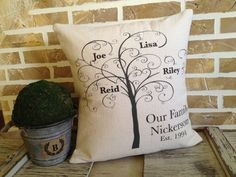 Family Tree Pillow Personalized with Names by SimplyFrenchMarket, $45.00