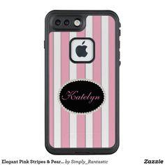 Elegant Pink Stripes & Pearl Monogram Case