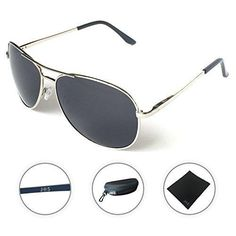 JS Premium Military Style Classic Aviator Sunglasses Polarized 100% UV protection (Medium Frame - Silver Frame/Black Lens)