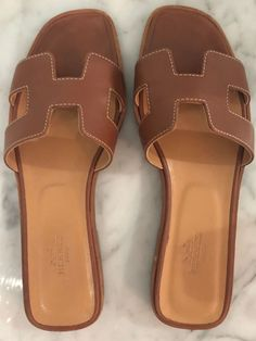 eb887a0c2011 Hermes Oran Sandal Brown 37.5  fashion  clothing  shoes  accessories   womensshoes