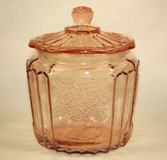 VINTAGE ANCHOR HOCKING MAYFAIR OPEN ROSE PINK DEPRESSION GLASS COOKIE JAR