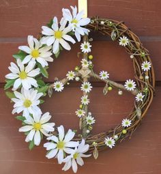 Peace Sign Wreath w/ Daisies/Hippie by ArtfullyYours1973 on Etsy