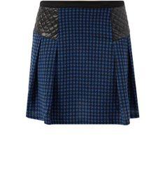 Mandi Black Quilted Panel Houndstooth Mini Skirt