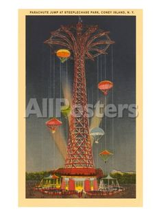 6061a7b1c73f9 Parachute Jump Ride, Coney Island, New York City Transportation Art Print -  46 x