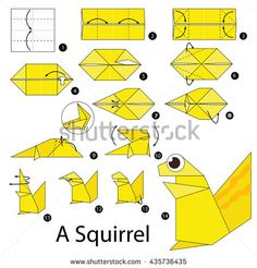 Mar 2018 - Step by step instructions how to make origami A Squirrel. Origami Simple, How To Make Origami, Oragami, Origami Paper, Easy Crafts, Arts And Crafts, Paper Crafts, Origami Patterns, Origami Stars