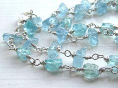 Handmade Aquamarine Necklace : Sterling Silver Aquamarine Jewelry, March Birthstone Necklace, Birthstone Jewelry, Rustic Gemstone Nugget