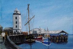 North Shields Fish Quay   Canvas painted in acrylics by Sharon Douglas