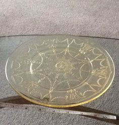 Yellow Anchor Hocking Cameo Depression Glass Plate Dish