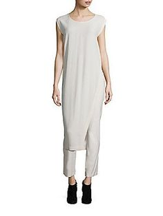 Eileen Fisher Silk Georgette Crepe Slit Tunic