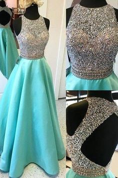 Cute fresh green open back sequins long senior prom dress with beads, O-neck…