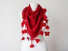 Red Scarf Crochet Scarf  Knit Scarf Pompom Scarf Triangle by Oxoo