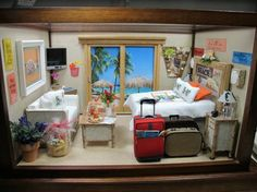 Tropical Room Box - Elaine's 1-12th Scale Miniature Room Boxes