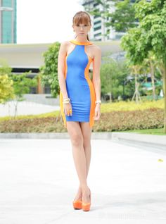 Discover this look wearing Coexist Dresses tagged neon - Blue Orange by camilleco styled for Sexy, Girls Night Out Cos Fashion, Korean Fashion, Female Fashion, Summer Outfits, Girl Outfits, Blue Orange, Orange Shades, Yellow, Neon