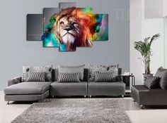 Colorized Lion v2 5 Pc Canvas Painting | TEEPEAT