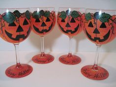 My set of 4 Jack-O-Lantern wine glasses are really cute.