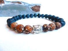 Mens bracelets Lava and Picture Agate beads, Buddha beads meditation mala beads bracelet beads male jewelry men Namaste bracelet stretchy