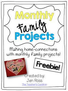 Monthly Family Projects - crafts and writing extensions for teach month. Try Feb. - Monthly Family Projects – crafts and writing extensions for teach month. Try February for free! Beginning Of School, New School Year, School Holidays, Preschool Family, Preschool Activities, Family Activities, Indoor Activities, Summer Activities, Kindergarten Homework