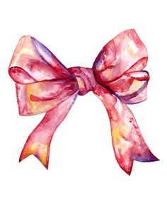 Print from my Etsy Shop: www.etsy.com/shop/storiesofpeople Pink Watercolor Bow Print, Nursery Bow Painting, Baby Girl Bow, Nursery Decor, Watercolor, Handpainted, 8x10, Childrens Art, Pink, Bow