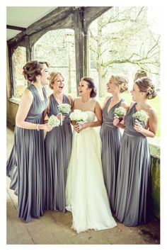 Charcoal Ballgowns | twobirds Bridesmaid dresses | beautful Leah and her bridesmaids in twobirds multiway, convertible dresses