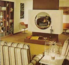 "https://flic.kr/p/9xFpHb | Burning Eye Fireplace | From British ""House & Garden' magazine, 1976"