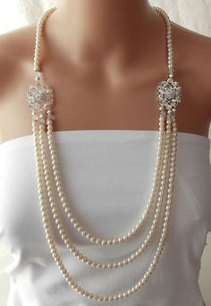 Great Gatsby Wedding Necklace, Pearl Bridal Necklace, Flapper Roaring 20s, Statement Necklace, Downtown Abbey, Bridal Jewelry - LEANORA