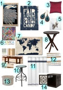 Eclectic family room makeover plans and $100 Overstock gift card giveaway 10/31-11/14