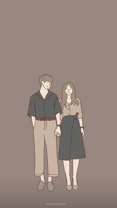 Cute Couple Drawings, Cute Couple Cartoon, Cute Couple Art, Anime Love Couple, Cute Drawings, Iphone Wallpaper Tumblr Aesthetic, Cute Wallpaper Backgrounds, Cute Wallpapers, Aesthetic Couple
