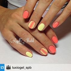 Luxio Soak Off Gel by Akzentz - Mani using Darling (Coral Cream) and Peaceful (Pastel Yellow)