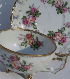 Vintage Hand Painted Japanese Teacup and Saucer Set