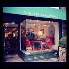 #NewYork #Mecox winter storefront! Window display with bright #red chairs and toss #pillows #NYC #MecoxGardens #furniture #shopping #home #decor #design #room #designidea #vintage #antiques #garden