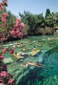 Wonderful ancient thermal pool (Pamukkale, Turkey)