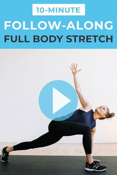 Release tight hips, reduce lower back pain and unwind with this 10-minute guided stretching routine! We're hitting every major muscle group in 10 minutes of active stretching. Full Body Stretching Routine, Stretch Routine, All Body Workout, Fitness Workout For Women, Postpartum Workout Plan, Body Stretches, Major Muscles, 10 Minute Workout, Tight Hips
