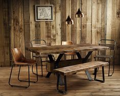 Vintage Industrial Rustic Reclaimed Plank Top Dining Table Blacksmith-Forged Solid Iron Legs (Handmade UK)