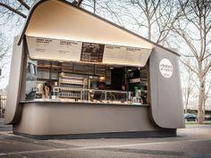 kiosque choux d'enfer More Container Design, Container Cafe, Kiosk Design, Cafe Design, Retail Design, Design Design, Small Coffee Shop, Coffee Shop Design, Stand Design