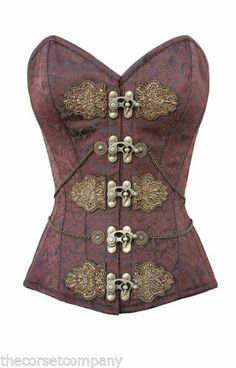 Brown Brocade Classic Victorian Steampunk Overbust Steel Boned Corset With Chain | eBay