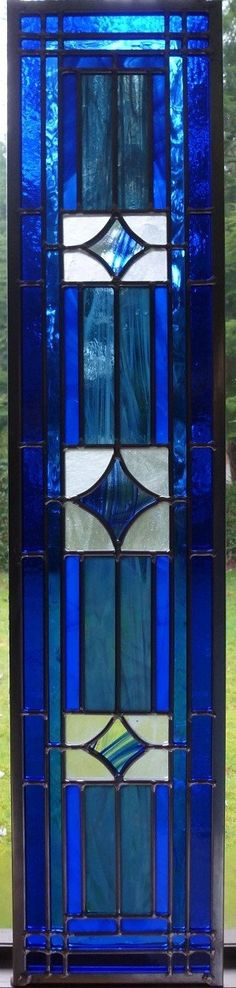 RESERVED FOR KEN W Stained Glass Panel Blue Diamond