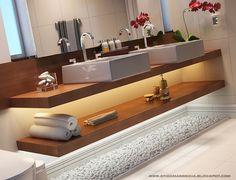 bancada para banheiro moderno em madeira com duas cubas - led abaixo cuba