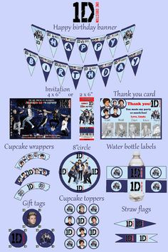 1D  One Direction Birthday Party Kit  Party Package  by mimseyy, $22.00