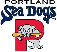 Portland Sea Dogs Primary Logo (2003) - A seal jumping through a P underneath the team name