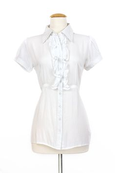 """Dressing Your Truth - Type 1 Tea Party Top -  This light and fresh top features front ruffles and gathered cap sleeves. Finished with elasticized side ruching for added comfort and cuteness!        100% Cotton      Cap Sleeve      Button Down Front      26"""" Length from top of shoulder (measurement taken from size small)"""