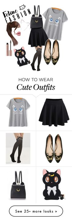 """Cat inspired casual outfit"" by farahr0798 on Polyvore featuring Leg Avenue, WithChic, Pin Show and Kate Spade"