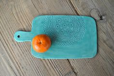 Large Board Doily Stamped Handmade Ceramic Light Turquoise Cheese Board, Serving Plate